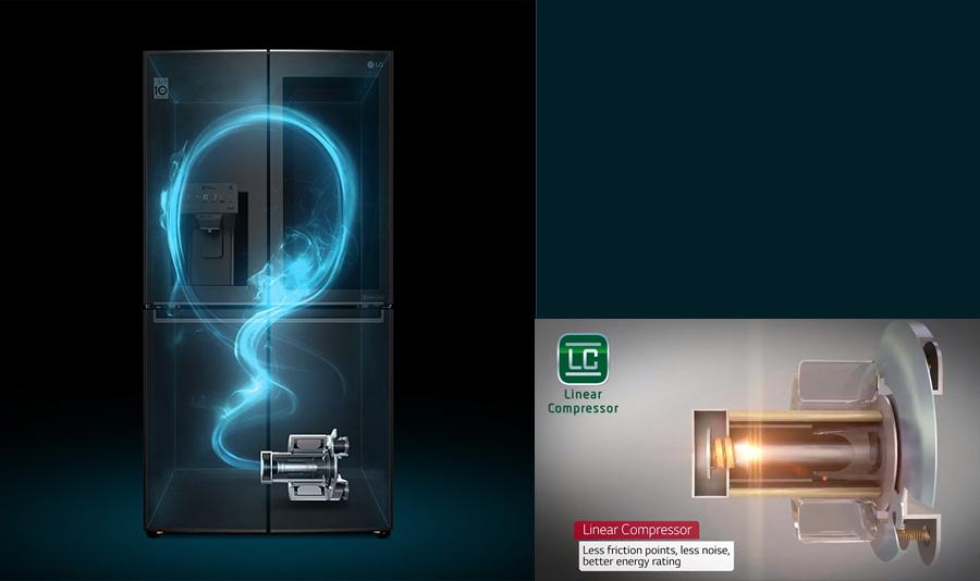 کمپرسور کم مصرف یخچال فریزر ال جی GRX-274DPB